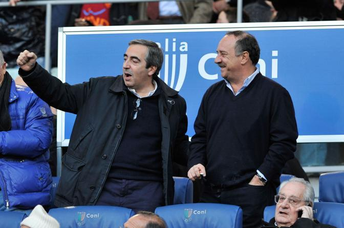 Roma-Inter 2-1:  Gasparri con Clemente J. Minun (laziale). In basso a destra, Cesare Romiti (Ipp)