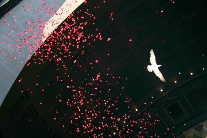 Pioggia di rose dall'«occhio del cielo» nel Pantheon di Roma: una colomba vola tra i petali (foto Comando Vigili del Fuoco Roma)