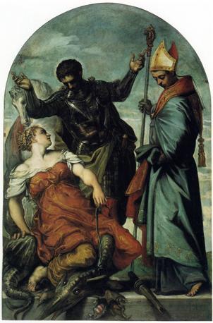 IL MITO - Jacopo Robusti, detto il Tintoretto  «San Luigi, San Giorgio e la principessa», c.1552 Olio su tela