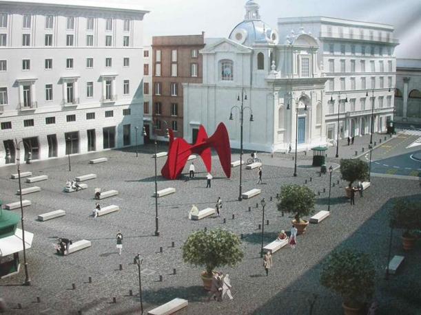 Piazza San Silvestro, restyling contestato: rivolta contro le 23 panchine «scomode e simili a sepolcri». Nella foto il rendering del progetto con la piazza senza veri alberi (foto Zanini)
