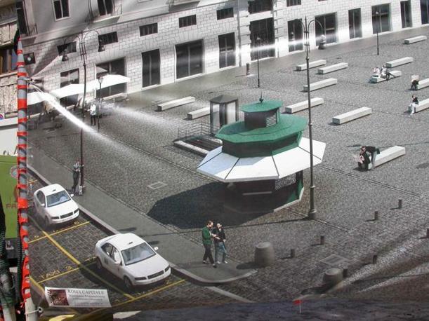 Piazza San Silvestro, restyling contestato: rivolta contro le 23 panchine «scomode e simili a sepolcri». Nella foto, il progetto di edicola e parcheggio taxi (foto Zanini)
