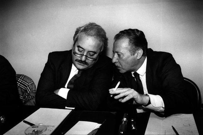 Giovanni Falcone e Paolo Borsellino. Palermo, 27 marzo 1992.  � Giuseppe Gerbasi/Contrasto