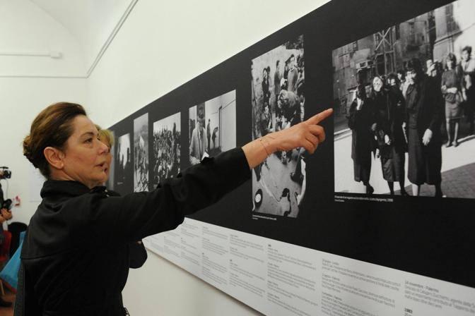 L'attrice Monica Guerritore all'inaugurazione della mostra (Foto Jpeg)