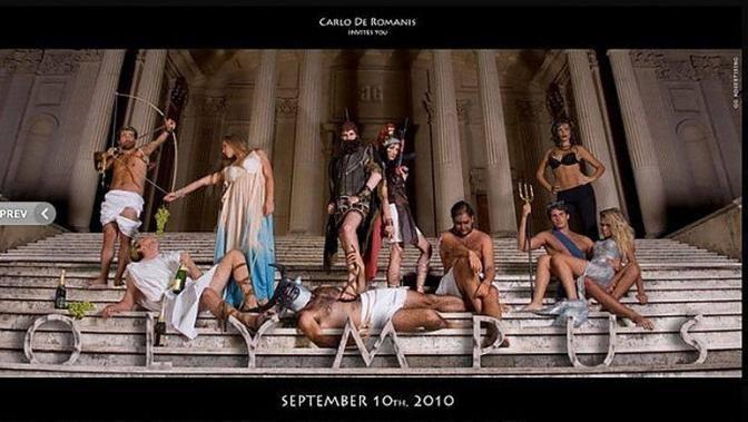 La festa al Foro Italico organizzata dal consigliere regionale del Lazio Carlo De Romanis (Pdl) in costume da antichi greci (foto da Facebook)