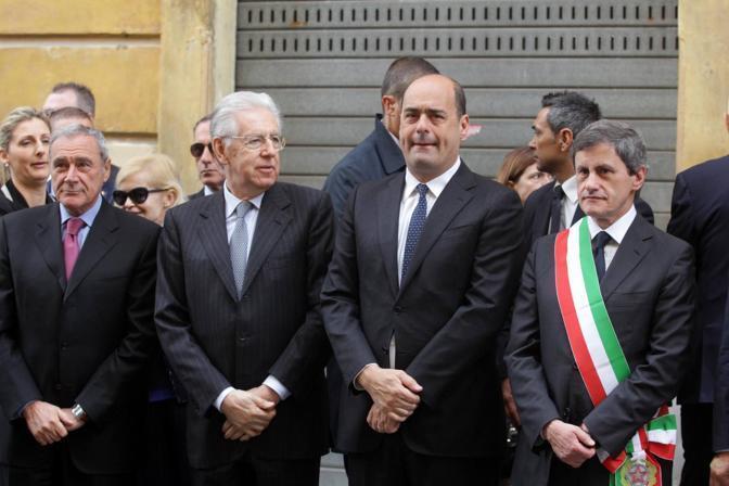 Da sinistra, il presidente del Senato Piero Grasso, il presidente del consiglio uscente, Mario Moni, il  governatore del Lazio, Nicola Zingaretti, e il sindaco di Roma, Gianni Alemanno (Jpeg)