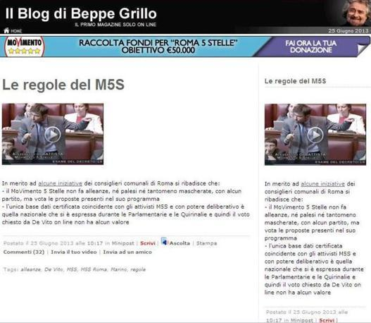 La pagina del blog in cui Beppe Grillo bocca il referendum online lanciato dal Movimento 5 Stelle di Roma sulla proposta di un assessorato nella giunta del sindaco Marino