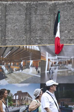 Bandiere a lutto sul cantiere Metro C ai Fori, chiuso alle 12 di venerdì 9 agosto. Lite sui numeri: 3 mila (pare) operai licenziati (foto Jpeg)