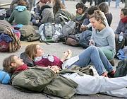 Studenti durante un sit-in