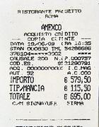 La ricevuta della carta di credito con la mancia (Proto)