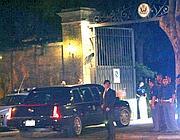 La visita di Bush lo scorso 2008: l'auto blindata entra a Palazzo Taverna