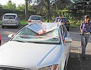 L'auto su cui si è schiantato l'omicida