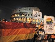 Un momento della manifestazione di sabato 10 ottobre contro l'omofobia (Ansa)