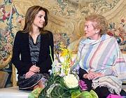 Rania con Clio, la moglie del presidente Napolitano (Foto Ansa)