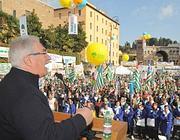 Il segretario Cisl Bonanni a Roma (Ansa)