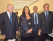 Il ministro Bondi, Zaha Hadid e il ministro Matteoli (Foto Jpeg)