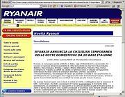 L'annuncio dello stop ai voli sul sito di  Ryanair