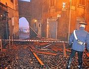 I danni della tromba d'aria ai Castelli (foto Ansa)