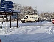Neve sulla via dei Laghi ai Castelli (Ansa)