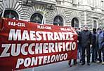 Zucchero a rischio - Si sono ritrovati in oltre 150 davanti alla sede del ministero delle Politiche agricole: sindacati Flai-Cgil, Fai-Cisl, Uila-Uil, il settore bieticolo-saccarifero protesta contro il mancato stanziamento di fondi destinati al comparto per il 2009-2010. «Saremo qui finché non ci daranno risposte - ha detto Antonio Di Lisio della Cgil del Molise - chiediamo che vengano rispettati gli impegni che il governo e la comunità europea hanno preso nel 2005». L'entità degli stanziamenti ammonta a 86 milioni di euro, secondo l'assessore alla agricoltura del Molise, Nicola Cavaliere. «Questi fondi servono per mantenere la continuità del settore, già duramente provato dalla chiusura di 15 stabilimenti su 19» (Ansa)