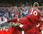 L'esultanza dopo il gol di Baptista (Foto Afp)