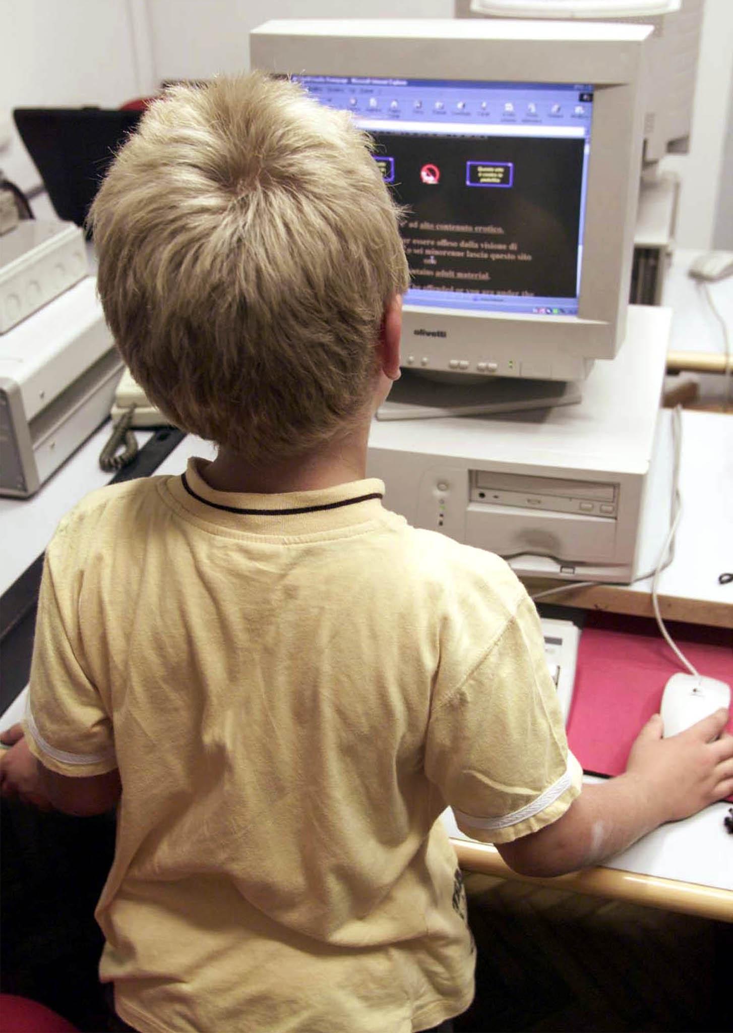 Un bambino al computer (Ansa)