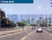 Le Torri di vetro dell'Eur come appariranno a chi arriva da Sud (st. Piano)