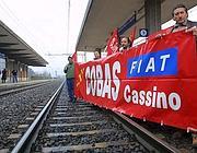Una protesta degli operai Fiat di Cassino sulla ferrovia Roma-Napoli