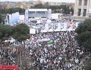 Una foto dall'alto in cui si nota il minor affollamento ai margini di piazza San Giovanni, sabato (Jpeg)