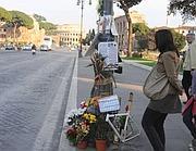 Il punto di via dei Fori Imperiali dove è stato uccisa Eva Bahdalova