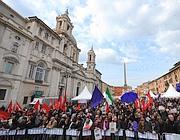 Il popolo viola a piazza Navona (Ansa)