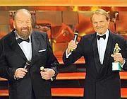 Bud Spencer e Terence Hill ricevono il Premio David alla carriera (Ansa)