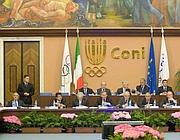La riunione del Consiglio del Coni (Emblema)