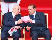 Napolitano e Berlusconi in tribuna d'onore su via dei Fori Imperiali (Graffiti)