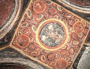 Il soffitto con le icone dei quattro apostoli (Ansa)