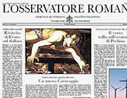 La prima pagina dell'Osservatore romano (Foto Ansa)