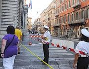 Via del Corso chiusa anche ai pedoni  (foto Proto)