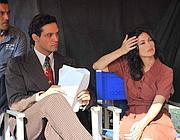 Gabriel Garko con Manuela Arcuri sul set della nuova fiction Peccato e vergogna