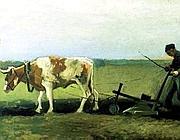 Uno dei quadri in mostra, «La semina delle patate»