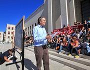 Lezione all'aperto a La Sapienza: la protesta del 6 ottobre (foto Eidon)