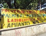 Una protesta anti amianto dei genitori della scuola Toti al Pigneto (Eidon)