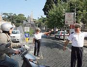 Vigili al varco di piazza del Popolo (foto Jpeg)