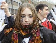 Un'immagine del corteo degli studenti medi (AgfRoma)