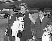 Maria Mercader con i figli Manuel e Christian (Ansa)