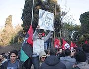 Una delle proteste davanti all'ambasciata libica a Roma (Proto)