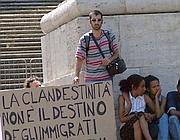 Manifestanti per i diritti degli immigrati a Roma