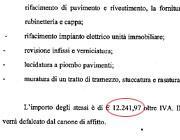 Il particolare del costo dei lavori detratti dal canone d'affitto del sen. Amoruso