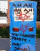 Ardea, la scritta beffarda su uno degli autovelox (Faraglia)