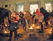 La protesta a Roma nella Notte Bianca della scuola (foto Eidon)