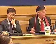 Pennacchi nella Sala Stampa della Camera con Italo Bocchino