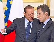 Silvio Berlusconi con Nicolas Sarkozy (Ansa)